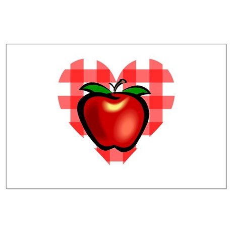 Checkered Tablecloth Apple He Large Poster