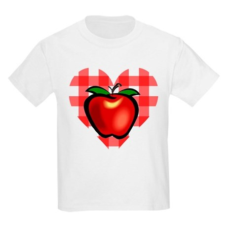 Checkered Tablecloth Apple He Kids Light T-Shirt
