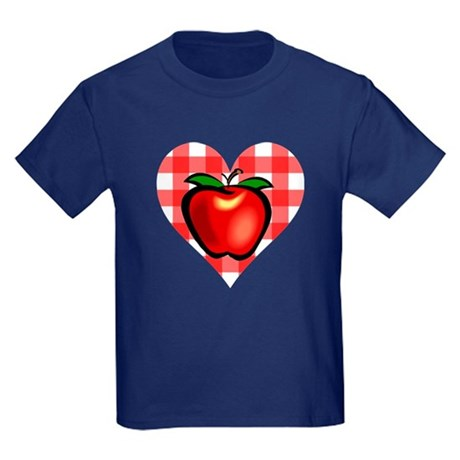 Checkered Tablecloth Apple He Kids Dark T-Shirt