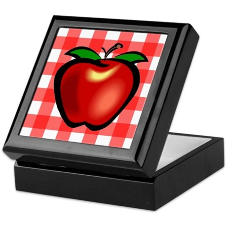 Checkered Tablecloth Apple He Keepsake Box