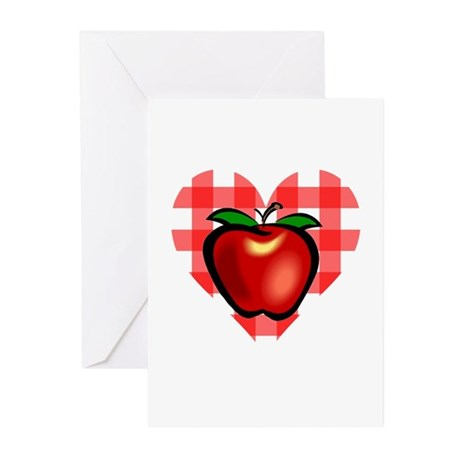 Checkered Tablecloth Apple He Greeting Cards (Pk o