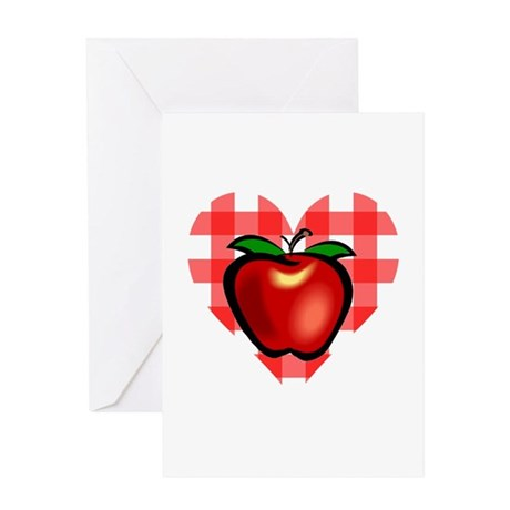 Checkered Tablecloth Apple He Greeting Card