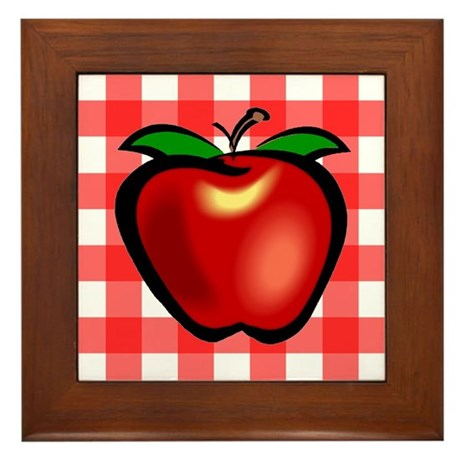 Checkered Tablecloth Apple He Framed Tile