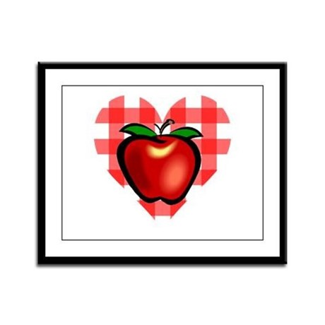 Checkered Tablecloth Apple He Framed Panel Print