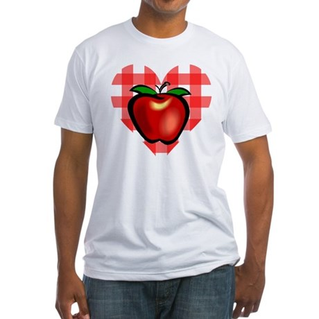 Checkered Tablecloth Apple He Fitted T-Shirt
