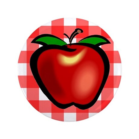 "Checkered Tablecloth Apple He 3.5"" Button (100 pac"