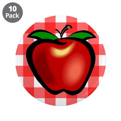 "Checkered Tablecloth Apple He 3.5"" Button (10 pack"