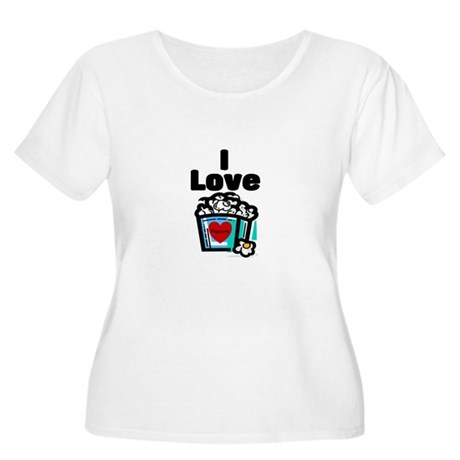 I Love Popcorn Women's Plus Size Scoop Neck T-Shir