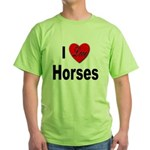 I Love Horses (Front) Green T-Shirt