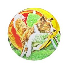 Agility Art Border Collie Ornament (Round)