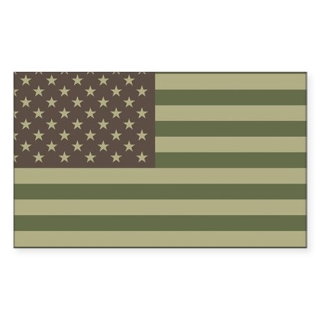 Camo American Flag Rectangle Sticker