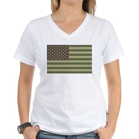Camo American Flag Women's V-Neck T-Shirt