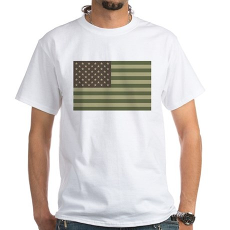 Camo American Flag White T-Shirt