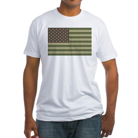 Camo American Flag Fitted T-Shirt