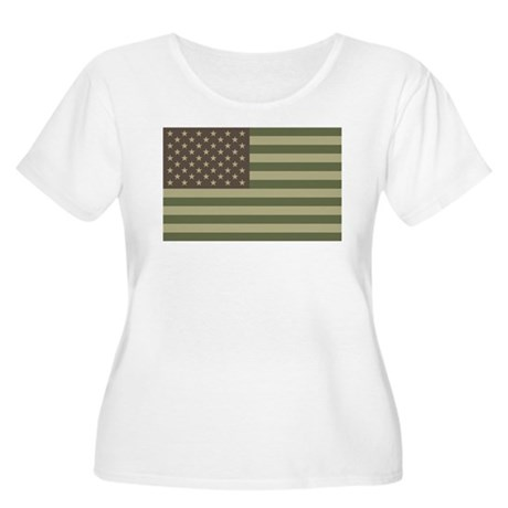 Camo American Flag Women's Plus Size Scoop Neck T-