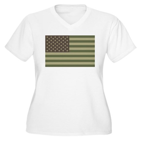 Camo American Flag Women's Plus Size V-Neck T-Shir
