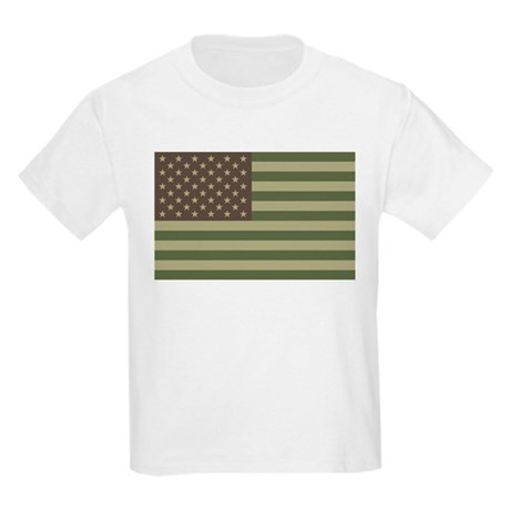 Camo American Flag Kids Light T-Shirt