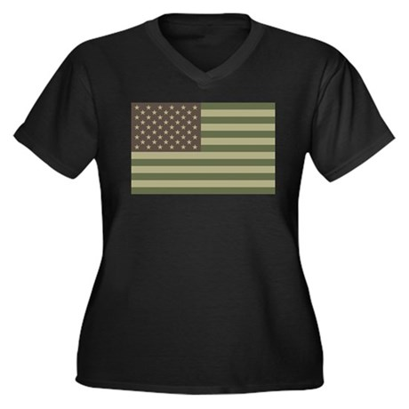 Camo American Flag Women's Plus Size V-Neck Dark T
