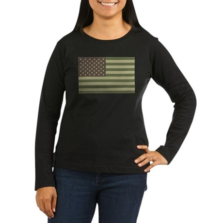 Camo American Flag Women's Long Sleeve Dark T-Shir