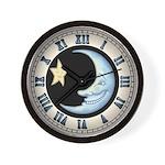 Moon Star Wall Clock