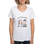 Cartoon Just Married Women's V-Neck T-Shirt