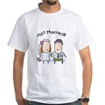 Cartoon Just Married White T-Shirt