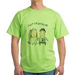 Cartoon Just Married Green T-Shirt