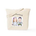 Cartoon Just Married Tote Bag