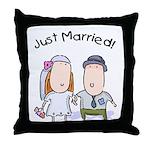 Cartoon Just Married Throw Pillow