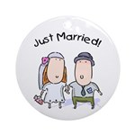 Cartoon Just Married Ornament (Round)