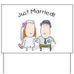 Cartoon Just Married Yard Sign