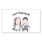 Cartoon Just Married Rectangle Sticker 10 pk)