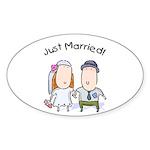 Cartoon Just Married Oval Sticker (10 pk)