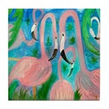 Flamingo Party Tile Coaster