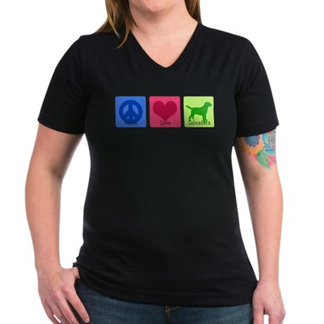 Peace Love Labs Women's V-Neck Dark T-Shirt