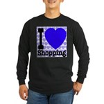 I Love Shopping Blue Long Sleeve Dark T-Shirt