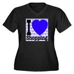 I Love Shopping Blue Women's Plus Size V-Neck Dark