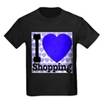 I Love Shopping Blue Kids Dark T-Shirt