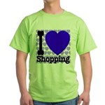 I Love Shopping Blue Green T-Shirt