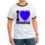 I Love Shopping Blue Ringer T