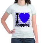 I Love Shopping Blue Jr. Ringer T-Shirt