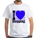 I Love Shopping Blue White T-Shirt