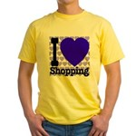 I Love Shopping Blue Yellow T-Shirt