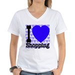 I Love Shopping Blue Women's V-Neck T-Shirt