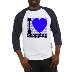 I Love Shopping Blue Baseball Jersey