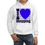 I Love Shopping Blue Hooded Sweatshirt