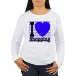 I Love Shopping Blue Women's Long Sleeve T-Shirt