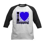 I Love Shopping Blue Kids Baseball Jersey