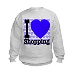 I Love Shopping Blue Kids Sweatshirt