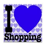 I Love Shopping Blue Tile Coaster